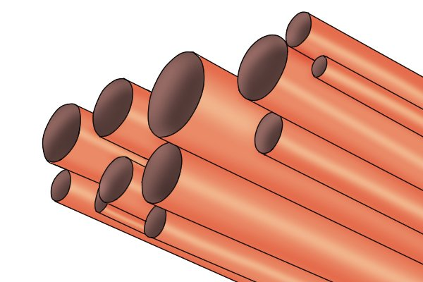 copper pipes of varying sizes, 15mm 22mm, plumbing pipes