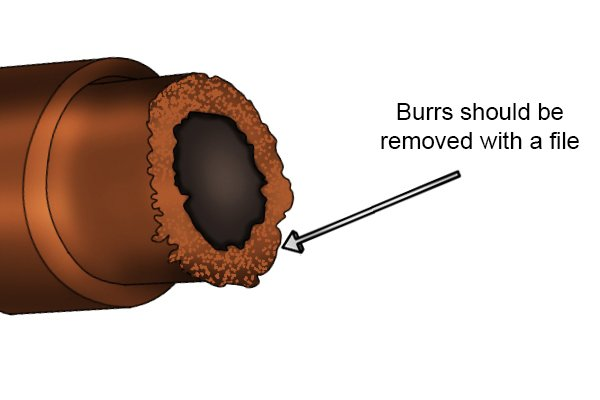 burrs, copper pipe, plumbing, swarf