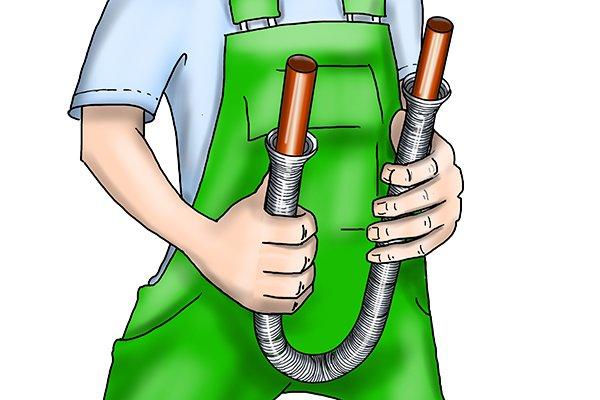 External pipe bending spring, bending a copper pipe, copper tube, DIY plumbing