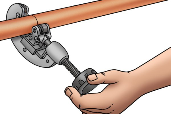 Adjustable pipe cutter used on copper piping
