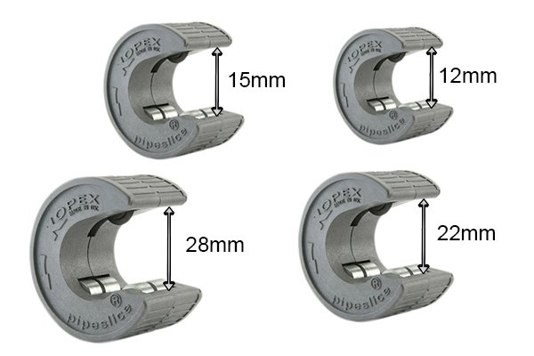 Single handed pipe cutter sizes; 12mm, 15mm, 22mm, 28mm