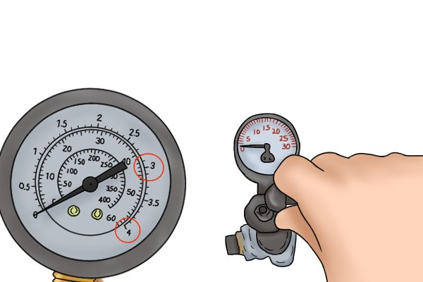 Pump air into the system while watching the dial. Make sure enough air is pumped into the system so the needle points to 3 - 4 bar (43 - 58 psi or 300 - 400 kPa).