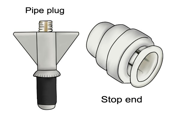 Pipe plugs and stop ends are used to seal off the ends of copper and plastic pipes while testing. Both can be purchased in a variety of sizes to fit pipe with different diameters.
