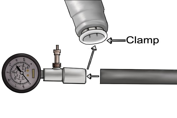 Use the push fit fitting to connect the test gauge to the piping. Simply insert the pipe into the fit fitting to lock the pipe clamp around the pipe securing it in place.