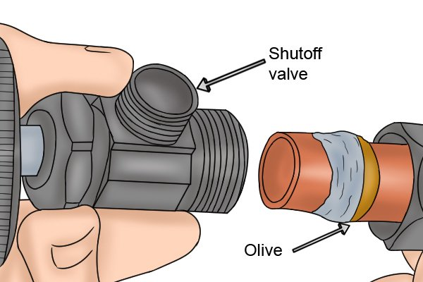 Place the pipe on to the connection and tighten the nut using your hands.