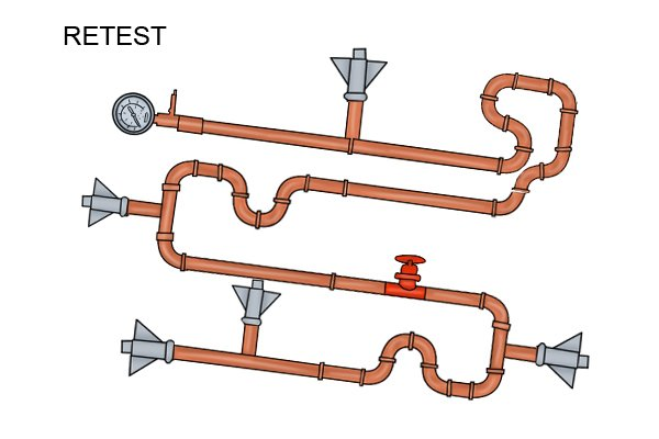 Once you have looked at the possible issues that could be causing your pipe system to drop in pressure and you have identified and amended the problems with your pipe work, you will then need to retest your system.