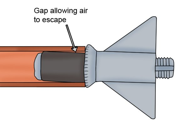 If a pipe plug is loose, then this could be allowing air to escape. The plug will need to be pushed and turned clockwise to tighten.