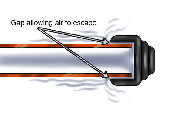 A stop end could be loose allowing air to escape hence why the pressure is dropping. The stop end will need to be pushed as far as possible against the pipe.