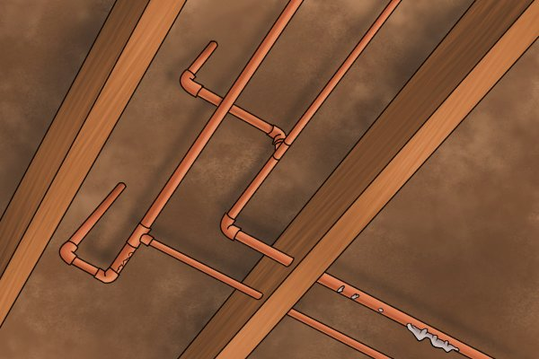 This copper piping is surrounded by highly flammable  and dusty chip board, a naked flame here could start a fire.  Using plumbing irons can greatly reduce this risk.