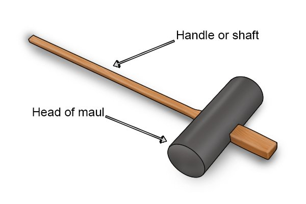 Pavers Maul or paver's maul showing maul handle or maul shaft and maul head
