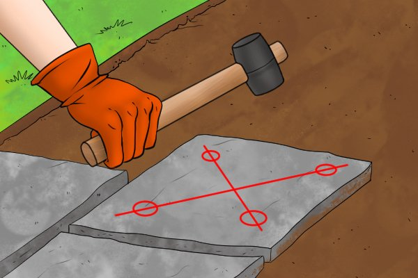 Using a paver's maul on a paver or paving stone or paving slab