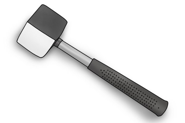 Paver's maul with black and white rubber head - the white rubber is less likely to discolour the paving stones