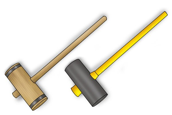 Wooden maul with wooden handle and rubber headed maul with fibreglass handle