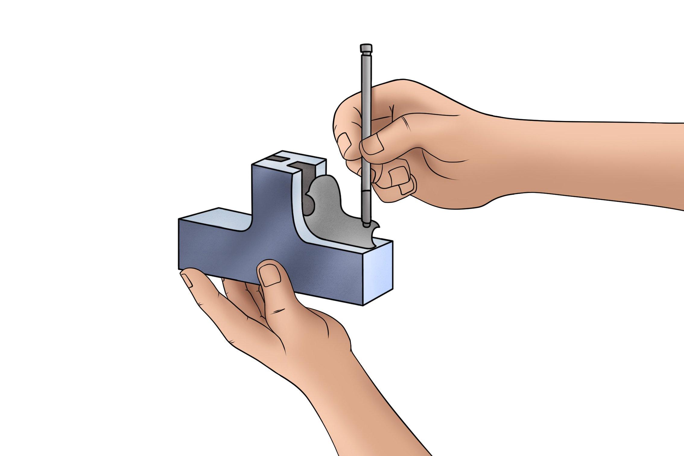 Measuring a metal work piece with a radius gauge