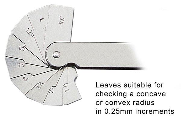 Radius gauge 25mm increments