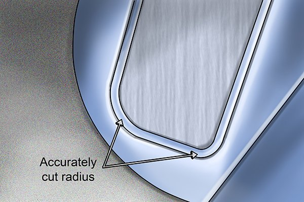 Fabricating using a radius cut-out