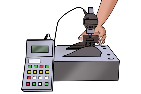 Digital radius gauge measuring a mould