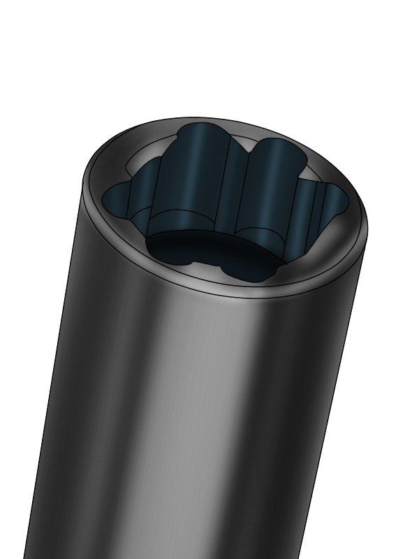 Radiator tail driver - close-up of socket