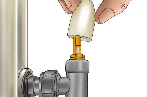 Removing a lockshield radiator valve cap
