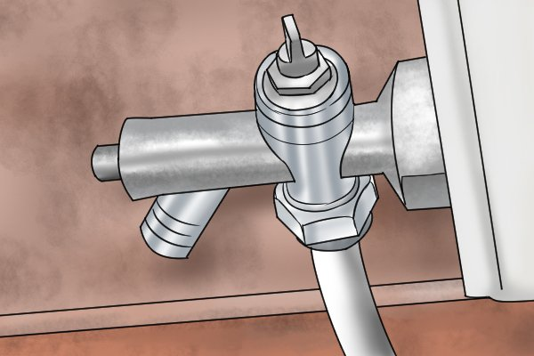 Lockshield valve with drain