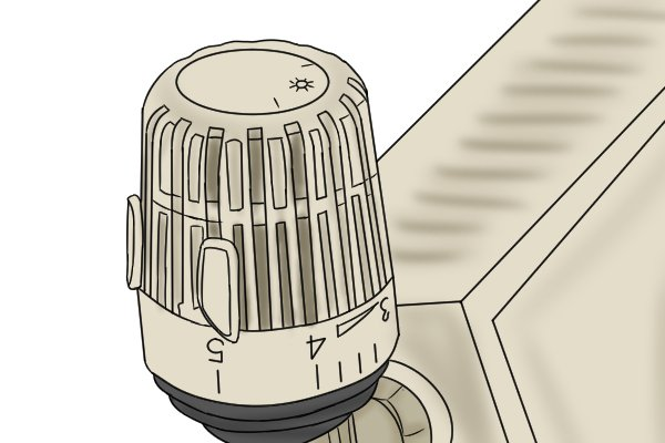 Thermostatic valve at top of radiator