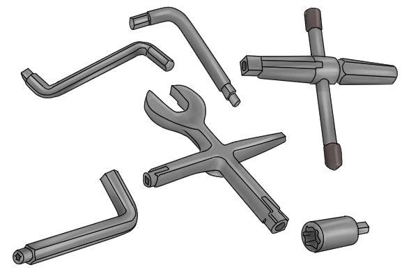 Various radiator valve keys