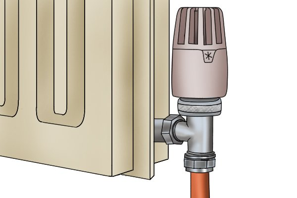 Thermostatic valve attached to radiator