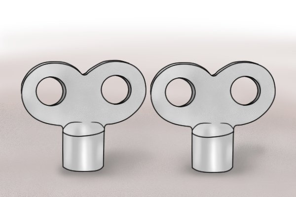 Nickel-plated iron radiator bleed keys