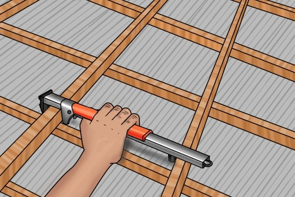 Roofing bar in action on a roof