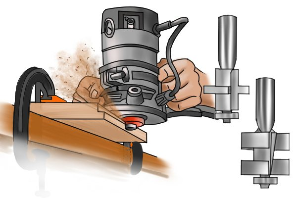 Tongue and Groove Set with Hand-held Router