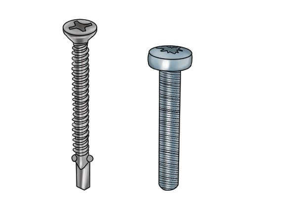 Two fully threaded screws