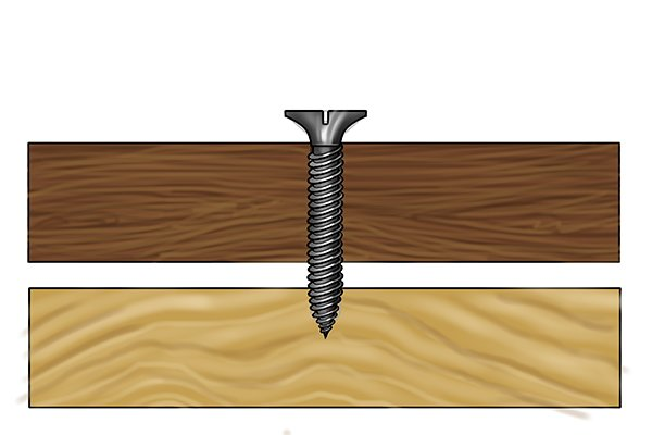 Fully threaded screw with two materials and a loose hold