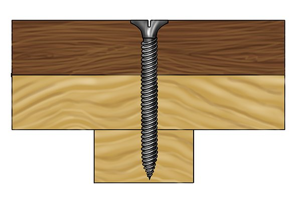 Decking screw in deck boards hard and soft wood