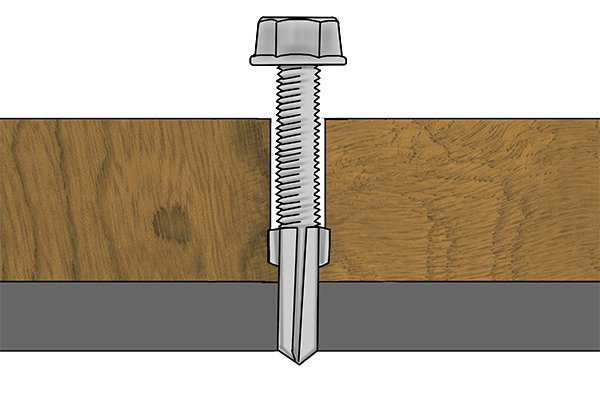 Self-drilling tip with wings screw being driven into material