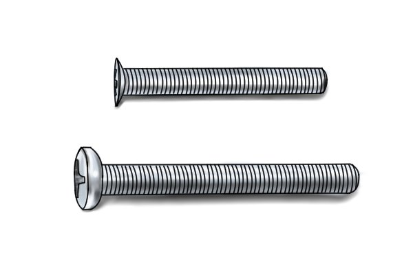 Two silver machine screws one with a pan head and the other with a countersunk head