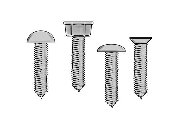Truss, countersunk and round screw heads