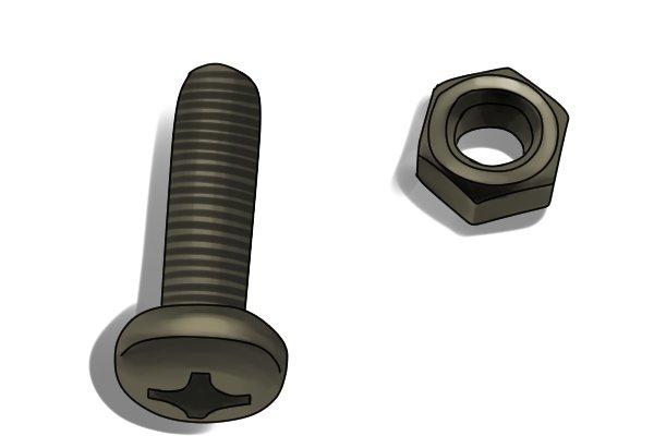 Machine screw and nut