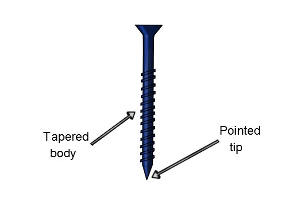 Tapered masonry screw with pointed tip