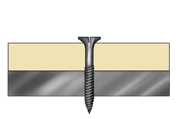 Drywall and metal stud with a drywall screw