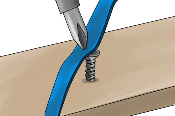 A thick wide elastic band in between the screw head and the screw driver