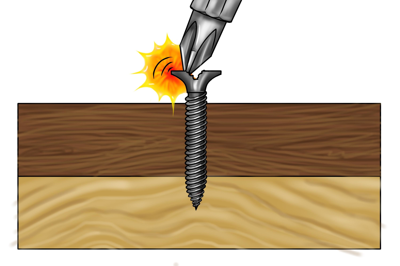 A screwdriver bit slipping on a black screw