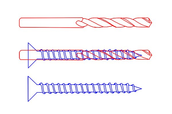 A screw and pilot drill bit overlapped to check if they are the same width