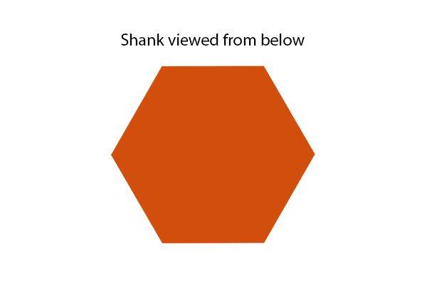 Power bit shank viewed from below