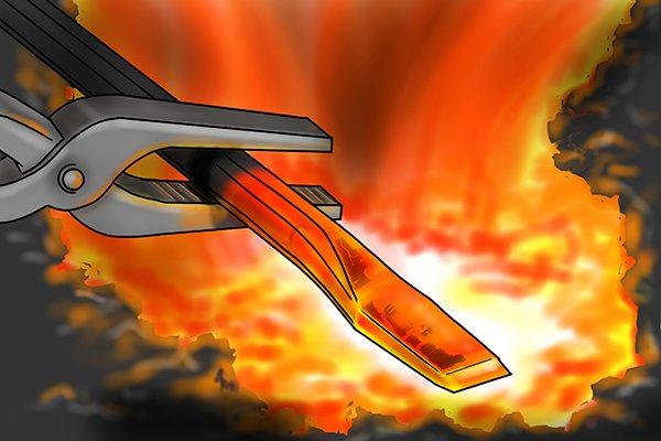 Hammering heated metal