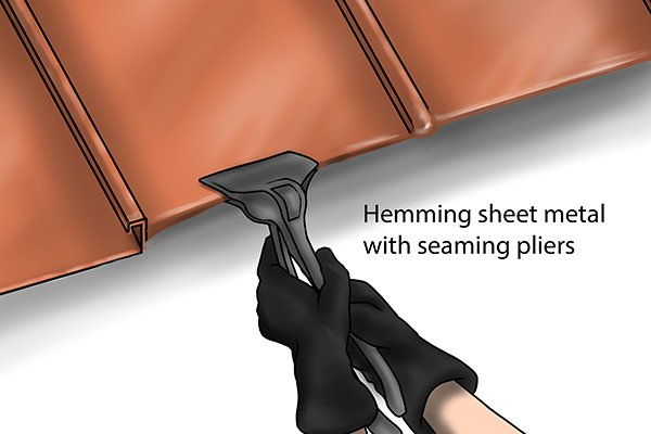 How To Hem A Metal Roof Panel Using Seaming Pliers