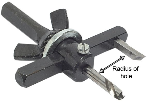 The length of the blade on most tank cutters can be adjusted so that the tool can be used to cut a range of different sized holes. The distance between the edge of the blade and the pilot drill will be equal to the radius of your hole. The capacity of most tank cutters ranges from 32mm to 125mm (1.25in - 5in).