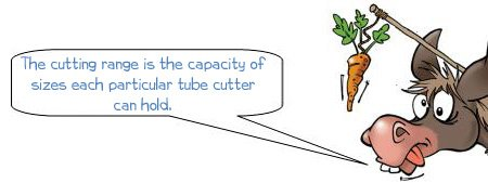 Wonkee Donkee says; The cutting range is the capacity of sizes each particular tube cutters can hold.