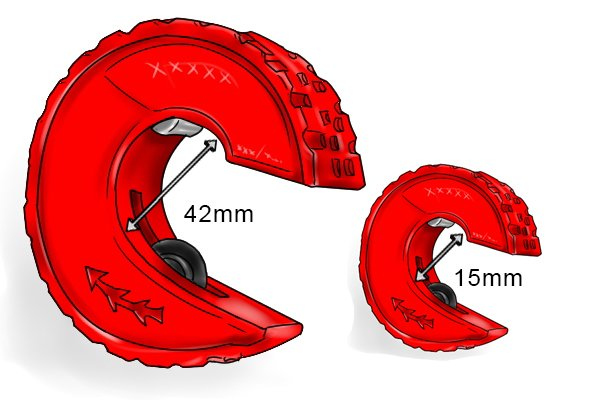 Size of wheel tube cutter; 42mm & 15mm