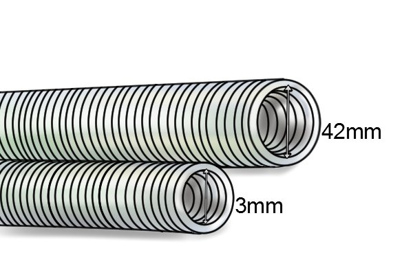 16mm and 42mm plastic tubing