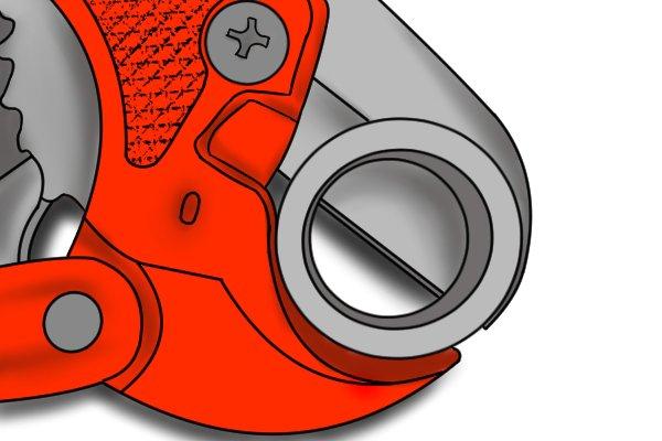 Ratchet cutter cutting through tubing